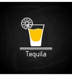 With glass of tequila for menu cover vector