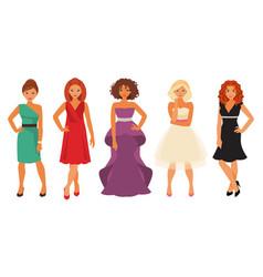 women in evening dresses vector image