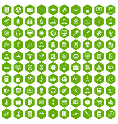 100 researcher science icons hexagon green vector