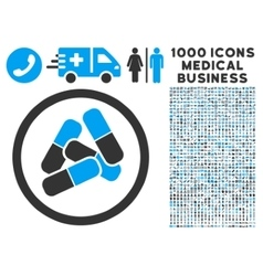 Drugs icon with 1000 medical business symbols vector