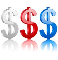 3D dollar symbol vector image