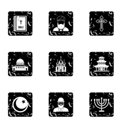 Spirituality icons set grunge style vector