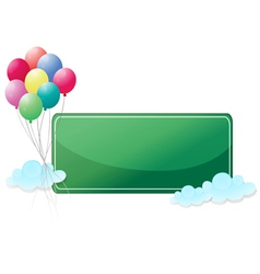 A green signage with balloons vector