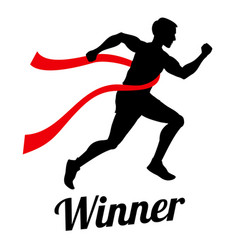 Winner runner crossing finish line sports vector