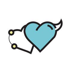 Love heart devil pen tool style blue vector