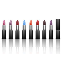 set of lipsticks in realistic style vector image