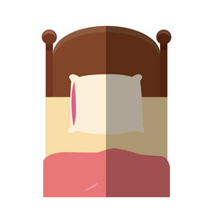 Single bed wooden pillow bedding shadow vector