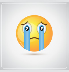 Yellow cartoon face cry tears people emotion icon vector