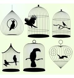 Set of birdscages vector