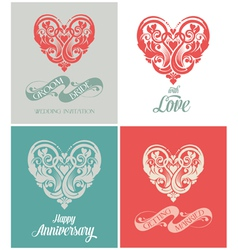 Wedding and anniversary greeting card vector