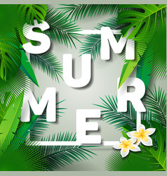 Summer time holiday typographic on palm leaves vector