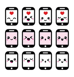 Japanese cute kawaii character - phone icons vector