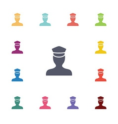Policeman flat icons set vector
