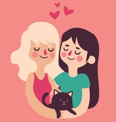 Couple holding their cat vector