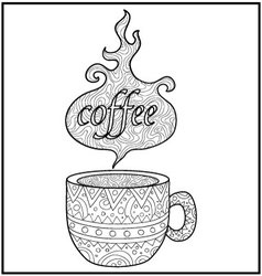 Hot coffe cup zentangle vector