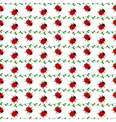 Pattern with bright little ladybugs vector