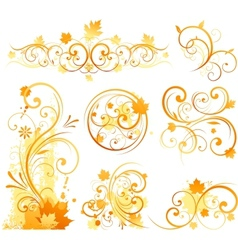 Autumn floral ornament vector