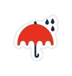 Paper sticker british umbrella on white background vector