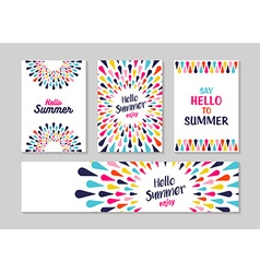 Hello summer colorful art greeting card and label vector