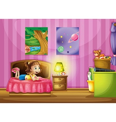 A little girl inside her colorful room vector