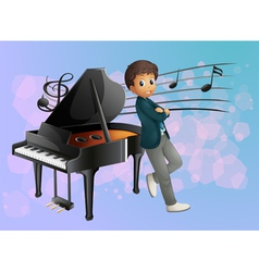 A piano at the back of the musician vector