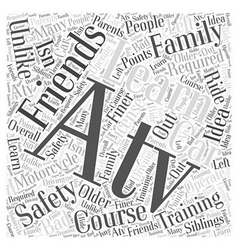 Atv safety training course word cloud concept vector