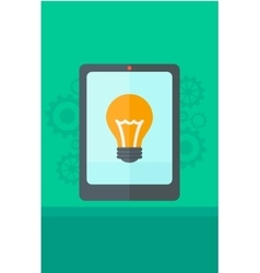 Background of digital tablet with lightbulb vector image