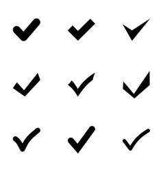 black confirm icon set vector image vector image