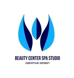 Blue spa beauty center studio logo vector