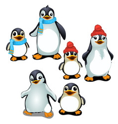cheerful family of penguins in a cap and scarf vector image