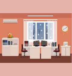 Christmas decor office room interior holiday vector