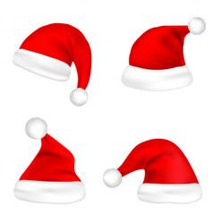 christmas santa claus hats set new year red hat vector image vector image