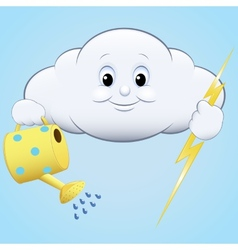Cloud with watering and lightning vector