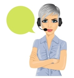 Confident female customer support phone operator vector