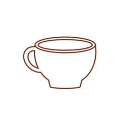 Cup coffee porcelain line vector