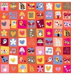 cute flowers birds hearts pattern 6 vector image