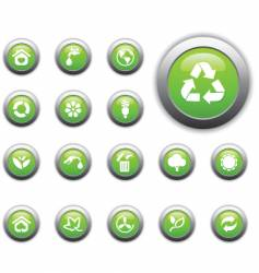 eco glossy button vector image