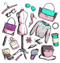 Fashion sketch elements set vector