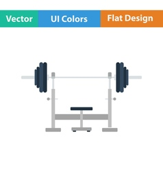 Flat design icon of bench with barbell vector