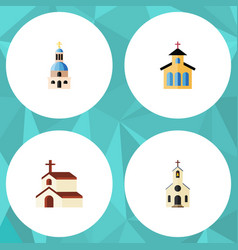Flat icon christian set of building religion vector