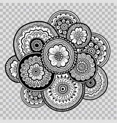 flower indian tattoo artwork floral coloring vector image vector image