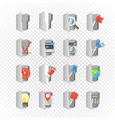 Grey folders collection with different content on vector