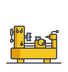 industrial equipment machine flat line vector image
