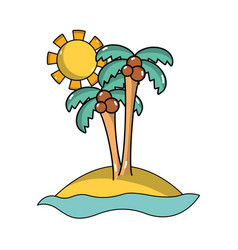Island with palms with cocnut and sun vector