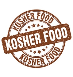 Kosher food brown grunge round vintage rubber vector