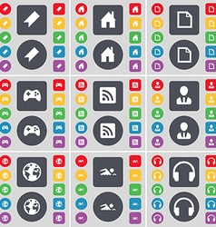 Marker house file gamepad rss avatar globe swimmer vector