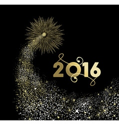 New Year 2016 gold firework explosion card vector image