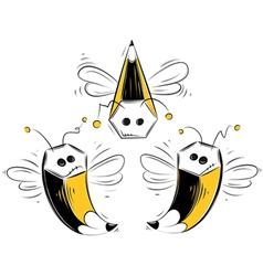 pencil bees vector image vector image