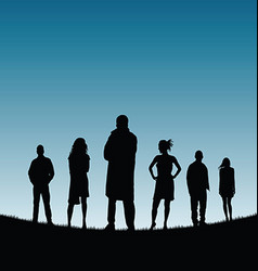People silhouette in nature color vector