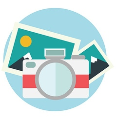 Photo camera in flat color design vector image